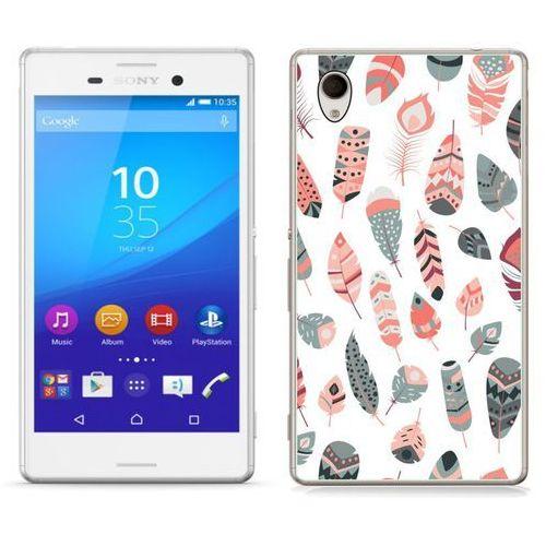 Sony xperia m4 aqua - etui na telefon - kolekcja boho - szaro-różowe piórka - j27 marki Zolti