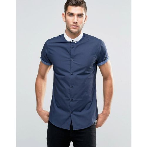 New Look Roll Sleeve Smart Shirt With Contrast Collar In Navy In Regular Fit - Navy
