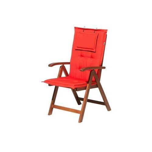 Beliani Krzesło ogrodowe drewniane poducha jasnoczerwona toscana