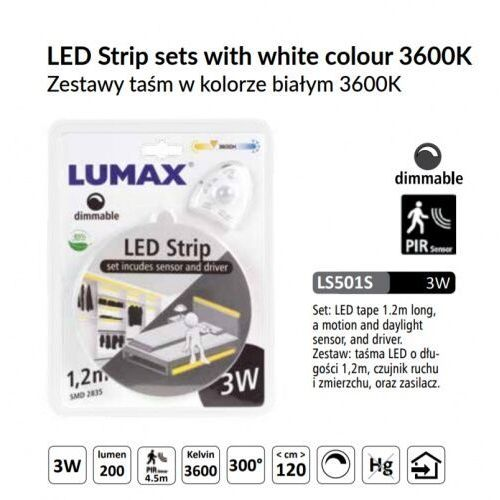Lumax Ls501s - zestaw taśma led z czujką ruchu ściemialna