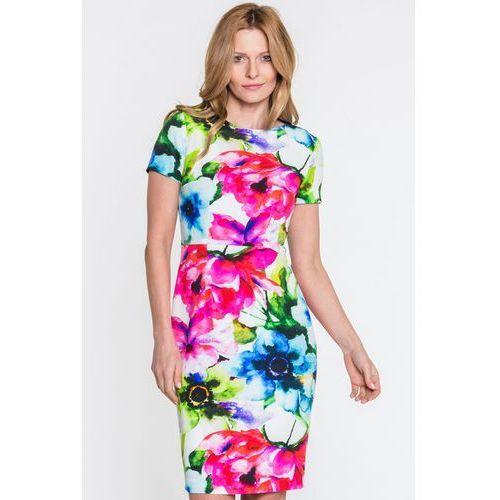 Sukienka w różnokolorowe kwiaty - SU, kolor biały