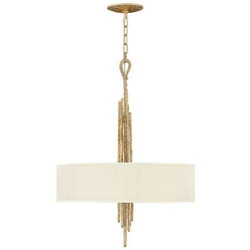 Lampa wisząca hk/spyre6p cpg elstead abażurowa oprawa okrągła na łańcuchu metalowe pręty złote białe marki Hinkley