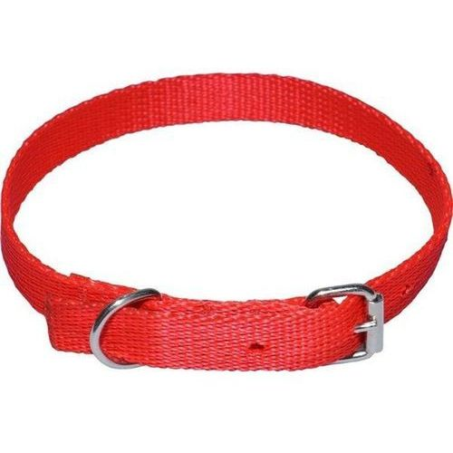 CHABA Mocna taśmowa obroża dla psa gładka - Obwód szyi 33cm-39cm - 33cm-39cm \ Czerwony