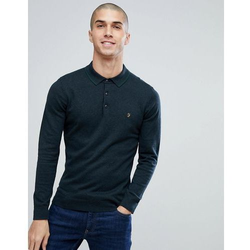 Farah Farson Slim Fit Long Sleeve Knitted Polo In Black Marl - Black, kolor czarny