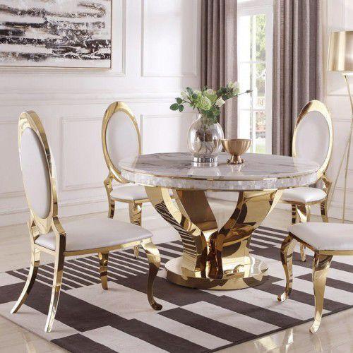 Stół glamour davson gold okrągły - stal szlachetna blat szklany nowoczesny marki Bellacasa