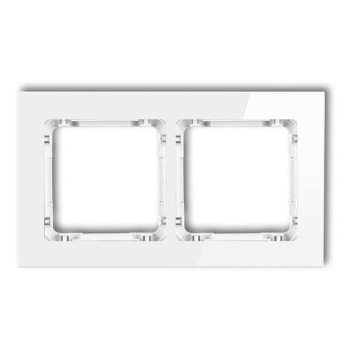 Karlik Ramka uniwersalna podwójna 0-0-drg-2 deco, biała, efekt szkła (5907709771017)