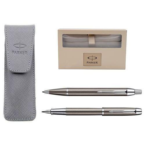 Zestaw  im gun metal ct pióro i długopis z etui parker + grawer marki Parker