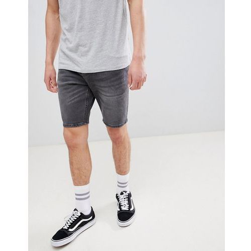 Bershka Slim Fit Denim Shorts In Washed Black - Black