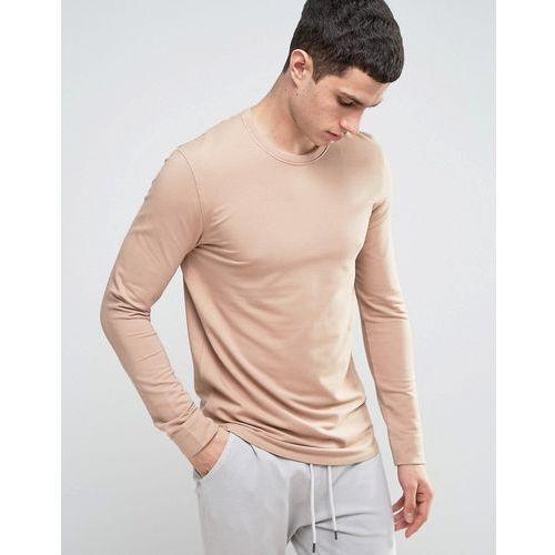 longline sweatshirt with curved hem and back stitch - beige wyprodukowany przez Selected homme