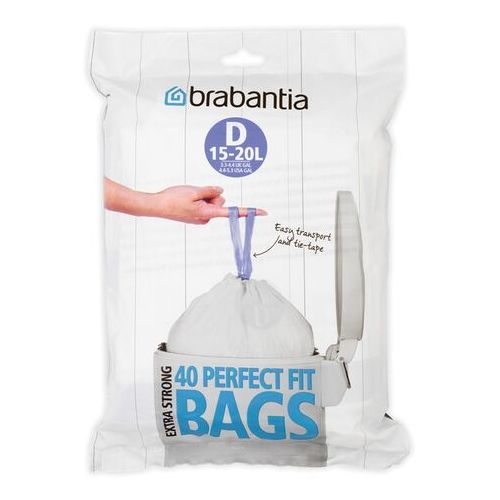 Worki na śmieci Brabantia PerfectFit Bags rozmiar D 15-20l 40 szt, 362187