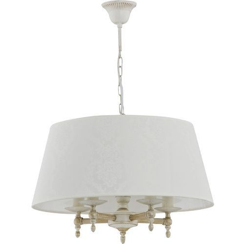 Lampa wisząca zwis żyrandol Alfa Roksana 5x40W E14 biały, shabby chic 18536, 18536