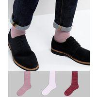 ASOS Textured Socks In Random Feed Design 3 Pack - Pink, kolor różowy