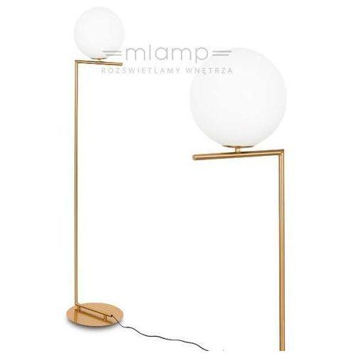 Stojąca lampa podłogowa mondo mle3081/1 salonowa oprawa szklana kula ball biała marki Italux