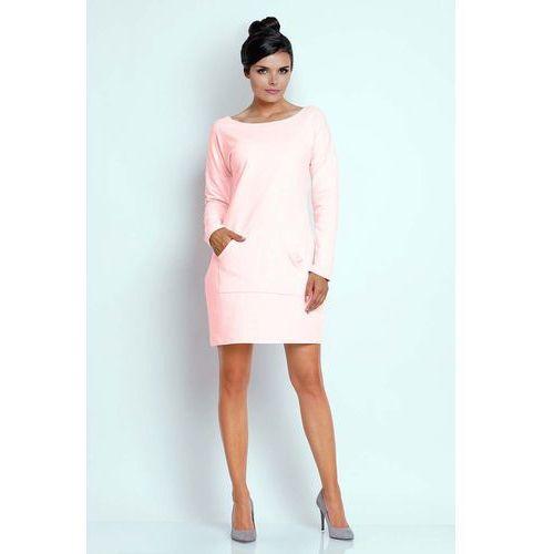 Jasnoróżowa Prosta Dresowa Sukienka z Kieszenią Kangurką, kolor różowy
