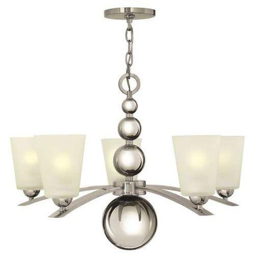 Żyrandol LAMPA wisząca HK/ZELDA5 PN Elstead HINKLEY szklana OPRAWA w stylu retro kule ZWIS nikiel biały, HK/ZELDA5 PN