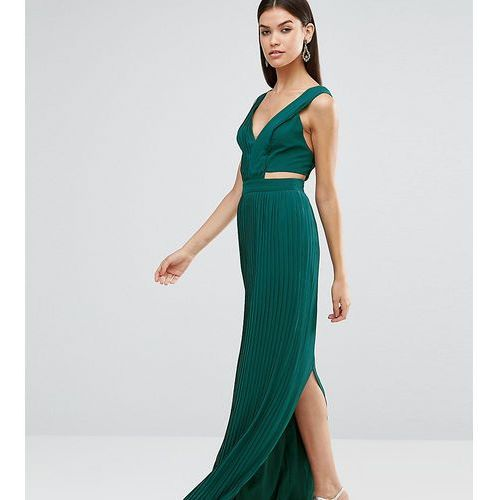 pleated maxi dress with cut out side - green, Asos tall
