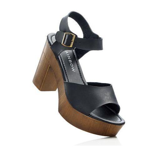 Sandały na podeszwie platformie bonprix czarny, kolor czarny