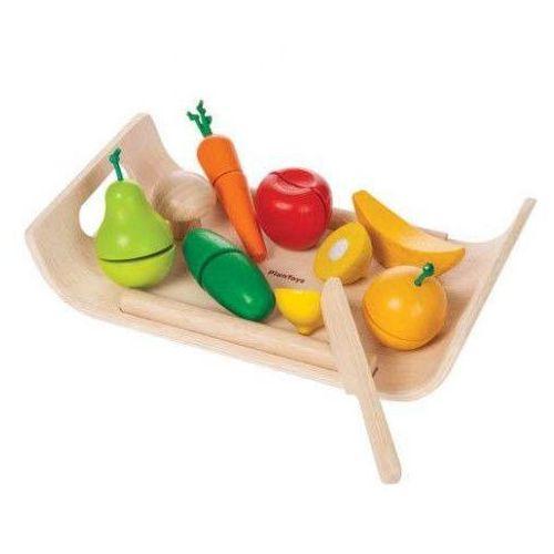 Drewniany Zestaw do Zabawy - Warzywa i Owoce na Tacy, PLAN TOYS, PLA1528