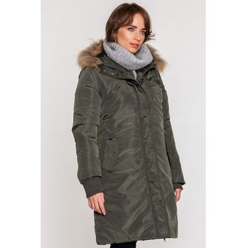 Długi płaszcz w kolorze khaki z naturalnym futrem - Lara Fabio, z