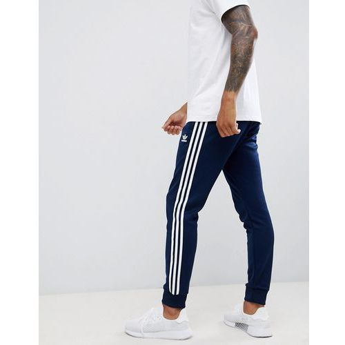 Adidas originals three stripe skinny joggers with cuffed hem in navy dh5834 - navy