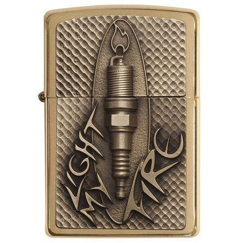 Zippo 2004817 zapalniczka PL 204B Spark Plug emblemat Brass zapalniczka benzynowa, mosiądz, 2 x 3,6 x 5,6 cm