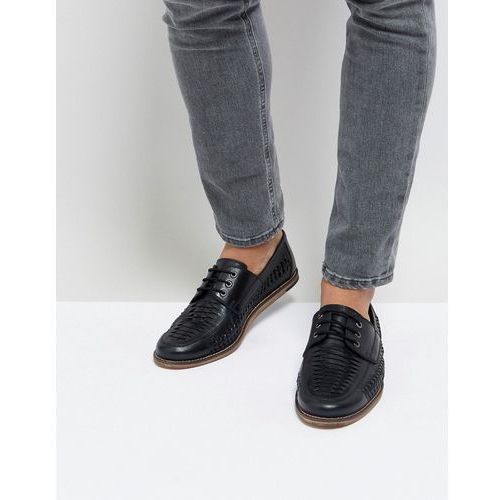 woven lace up shoes in black leather - black, Silver street