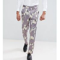 ASOS TALL Wedding Skinny Crop Smart Trousers With Light Grey Floral Print - Grey, kolor szary