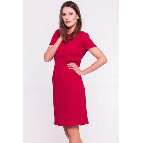 Amarantowa sukienka w gufrowany wzór - Vito Vergelis, kolor czerwony