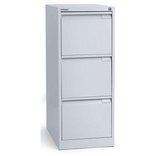 Szafka na kartotekę wiszącą, 1-torowa, 3 szuflady, DIN A4, biały aluminium. Na t