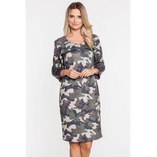 Casualowa sukienka w moro - Margo Collection, 1 rozmiar