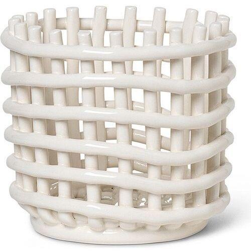 Ferm living Kosz do przechowywania 14,5 cm beżowy ceramiczny (5704723255734)
