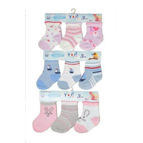 Skarpety YO! Baby SKC 3-pak A'3 ROZMIAR: 6-9, KOLOR: wielokolorowy-dziewczynka, YO!, 5906714431800