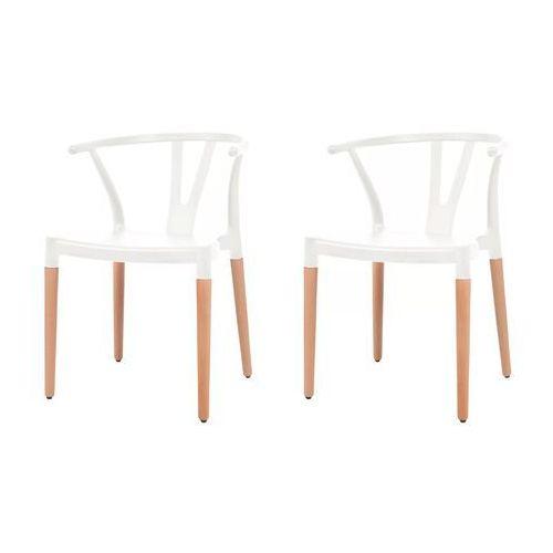 vidaXL Komplet 2 krzeseł, białe, plastikowe siedziska i stalowe nogi (8718475564850)