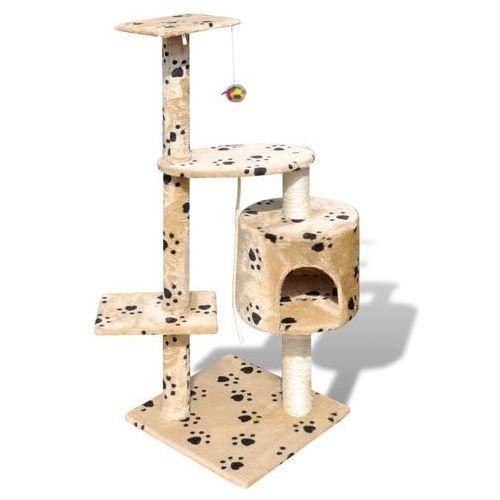 Vidaxl drapak dla kota 114 cm 1 domek, beż z motywem łapek