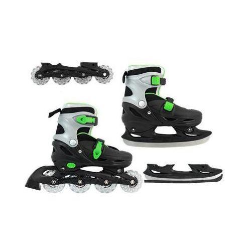 2w1!! łyżwo-rolki black&green (rozmiar 30-33). marki S.t.i. ltd.