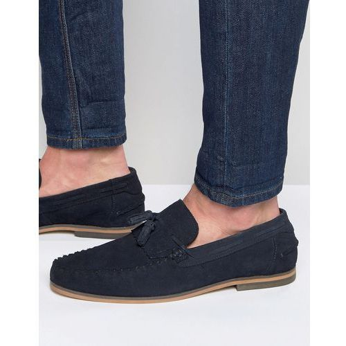 tassel loafers in navy suede with fringe and natural sole - navy marki Asos