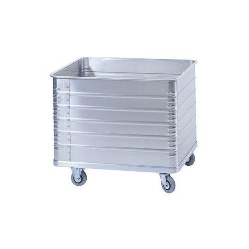 Aluminiowy wózek skrzyniowy, poj. 655 l, z profilem krawędzi i podłogi. Odporne