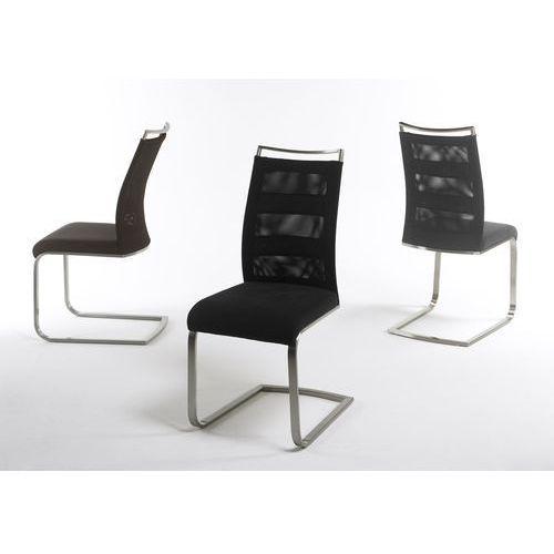 Krzesło na płozie CANDI stal szlachetna szczotkowana, tkanina