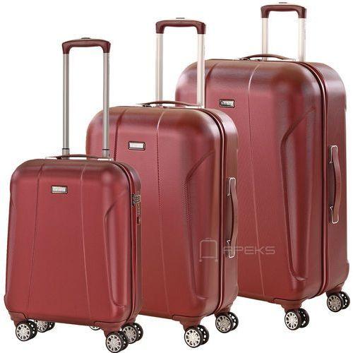 Travelite elbe two zestaw walizek / komplet / walizki na 4 kółkach / czerwony - czerwony