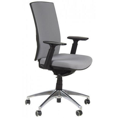 Krzesło biurowe obrotowe z wysuwem siedziska i podstawą aluminiową, kb-8922b-s/alu/szary, fotel biurowy marki Stema - kb
