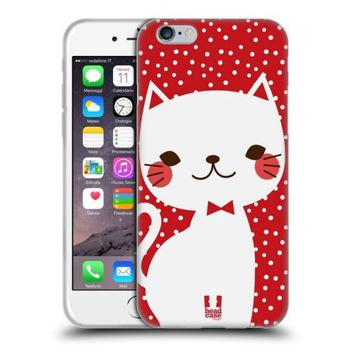 Etui silikonowe na telefon - cats and dots white cat in red marki Head case