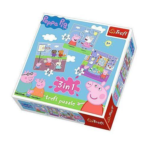 Trefl Puzzle 3w1 świnka peppa zabawy w szkole