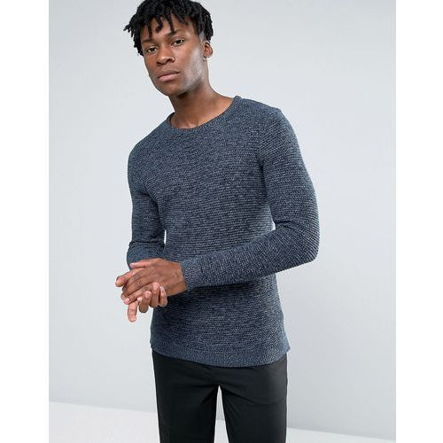 100% cotton crew neck texture knitted jumper - navy, Selected homme