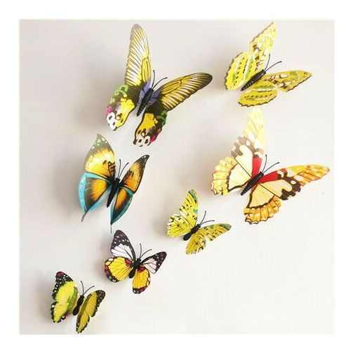 Naklejki 3d motyle z magnesem żółty, 12 szt., marki 4-home