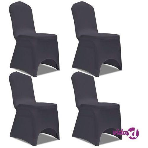 vidaXL Elastyczne pokrowce na krzesła antracytowe 4 szt.