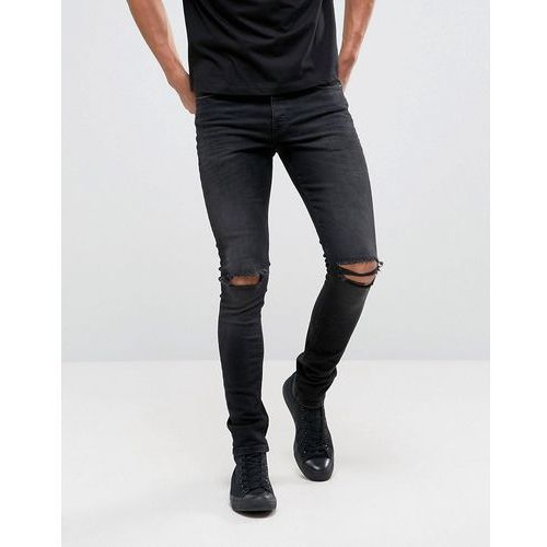 ASOS Super Skinny 12.5oz Jeans With Knee Rips In Washed Black - Black