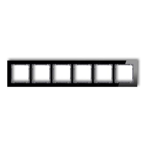 Ramka sześciokrotna Karlik Deco 12-11-DRS-6 (1 moduł) - efekt szkła (ramka czarna; spód biały), kolor biały