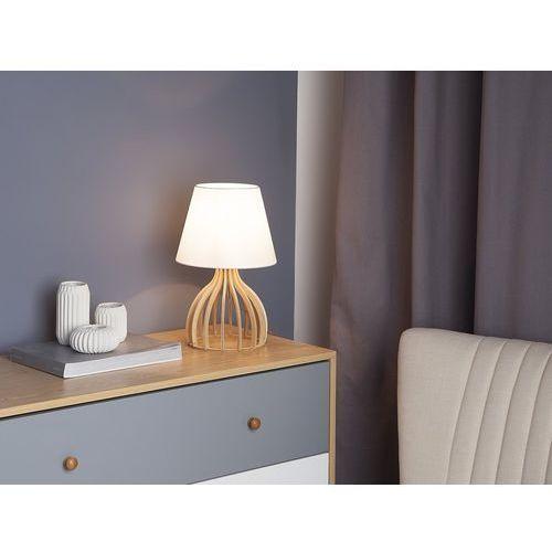 Beliani Lampa stołowa drewniana biała agueda