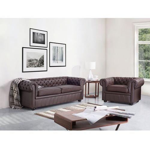 Sofa kanapa skórzana brązowa klasyka dom biuro CHESTERFIELD, kolor brązowy