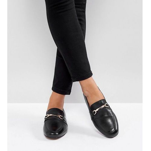 Asos movement wide fit leather loafers - black